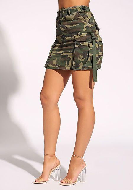 072898847e Camouflage Cargo Pocket Skirt Falda Con Bolsillos