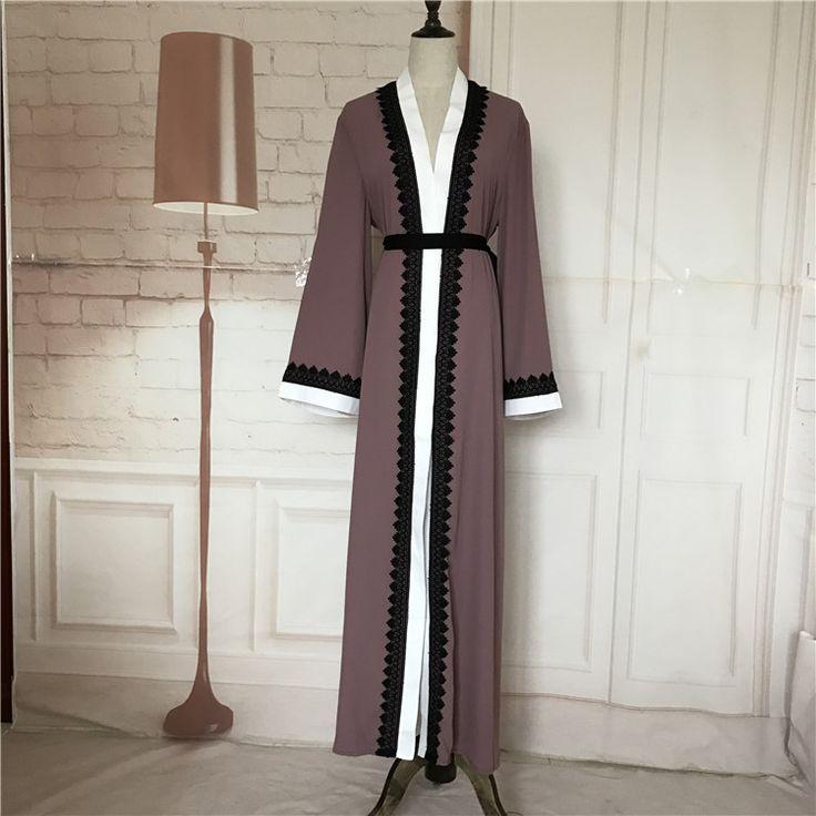 Plus size 2017 Adult emboridery lace cotton liene Robes Musulmane Turkish Abaya Muslim Cardigan Robes Arab Worship Service Wj154