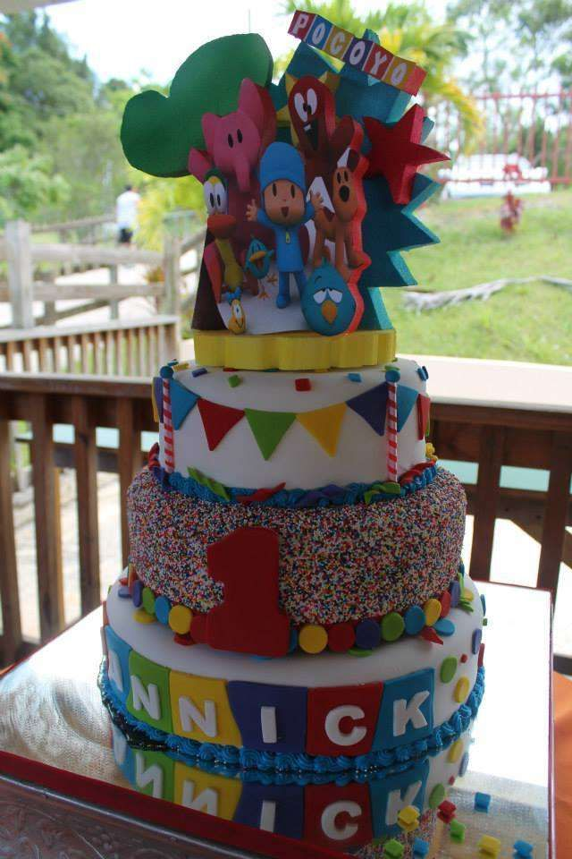 Pocoyo birthday party cake! See more party ideas at CatchMyParty.com!