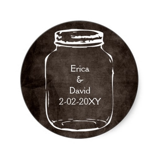rustic mason jar wedding seals round stickers from Zazzle.com