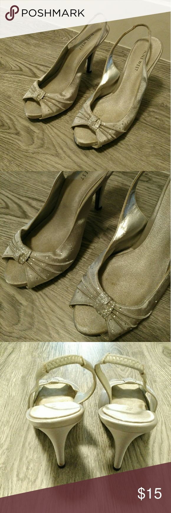 Silver Rhinestone Heels GUC! 4 inch heel and 1/4 inch front platform. Nine West Shoes