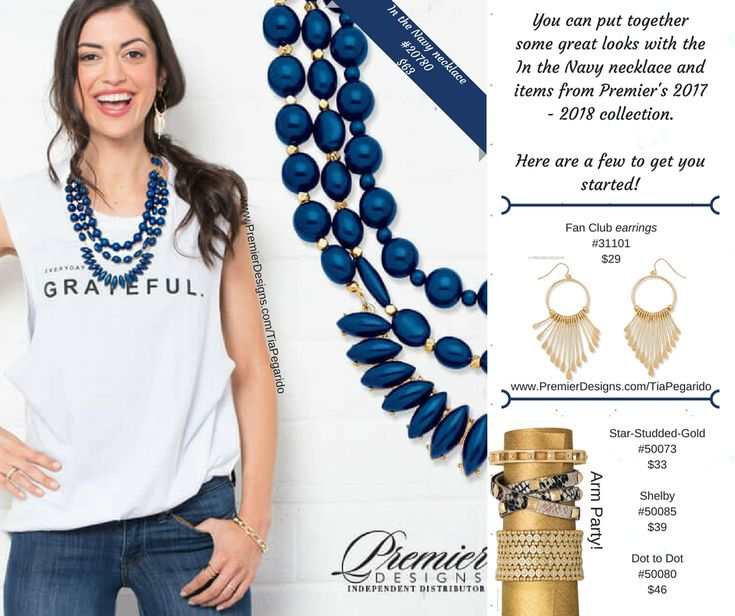 New from Premier Designs' Spring 2018 line: featuring In the Navy necklace which pairs beautifully with the Fan Club earrings. Complete your arm party with classic staples: Star Studded (gold), Shelby, and Dot to Dot.