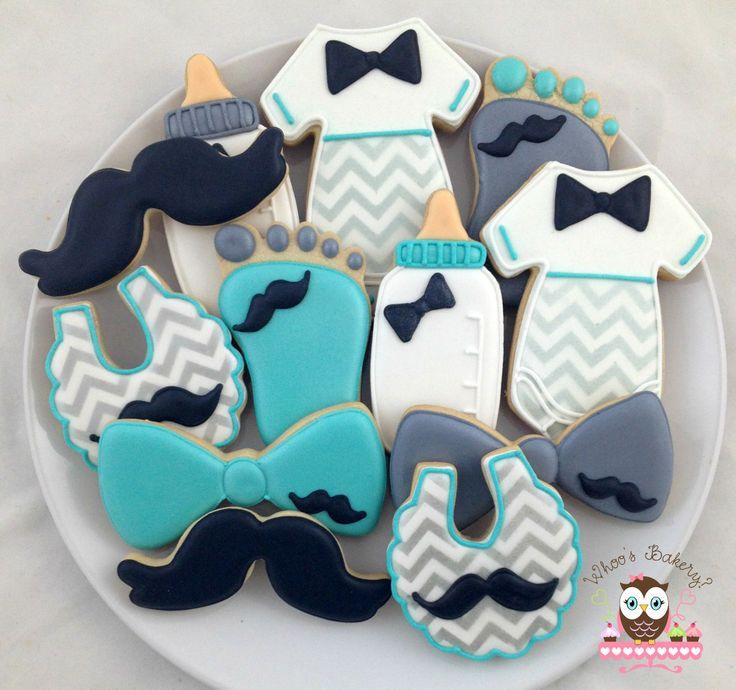 Cute Baby Shower Cookies, Chevron Cookies, Chevron Baby Cookies, Baby Foot Cookies, Baby Bottle Cookies, Baby Bib Cookies, Moustache cookies, Little Man Chevron Cookies, jumpsuit cookies, bow tie cookies, little man party, little man cookies