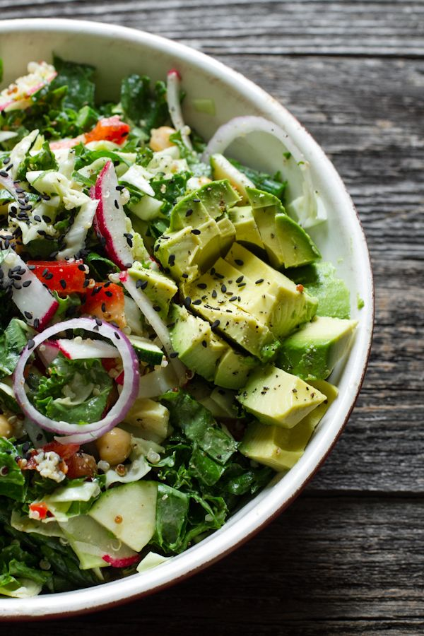 Chopped Kale Salad + Creamy Almond Ginger Dressing - Edible Perspective -