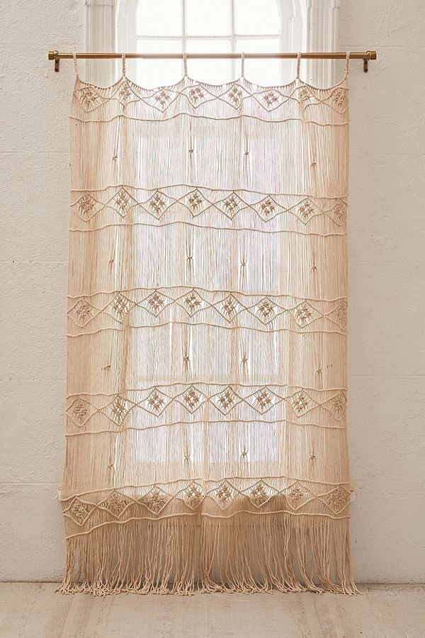 Magnolia Macrame Window Panel Bamboo Beaded Curtains Window