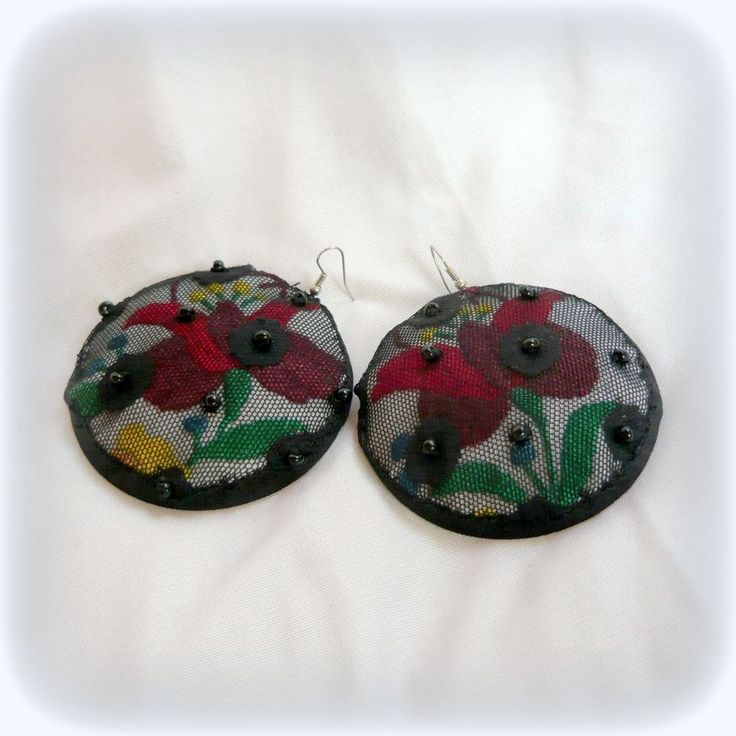 Handmade by Judy Majoros - Kalocsai Embroidery - Hungarian polka dots earring. Recycled earring. Polka dots tulle-black felt, beaded.