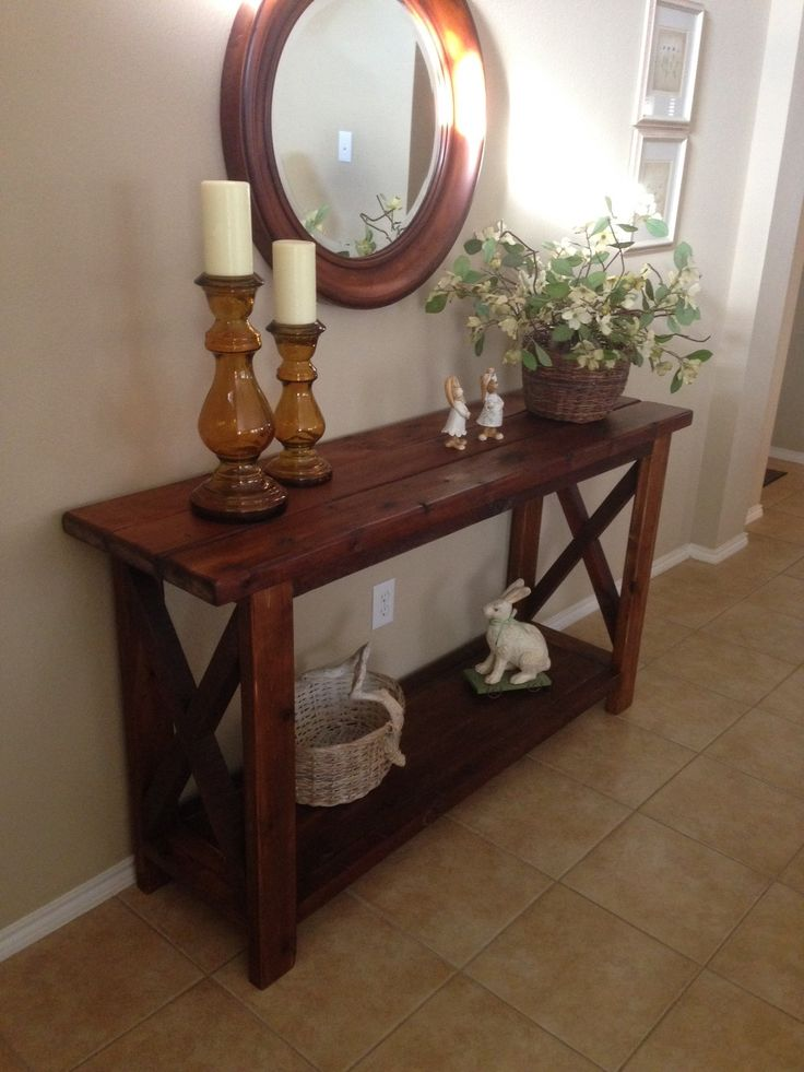 Foyer table made out of cedar.