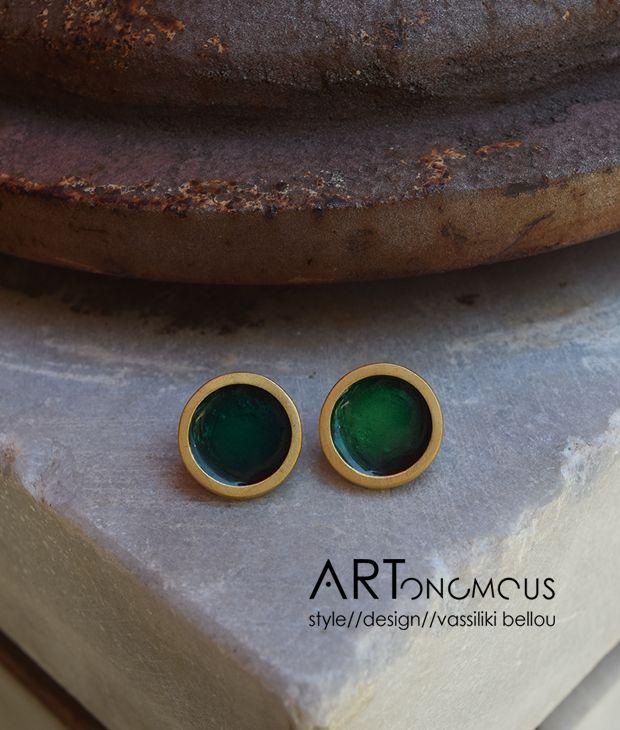 Σκουλαρίκια με σμάλτο Πριγκιπώ – διάφανο πράσινο