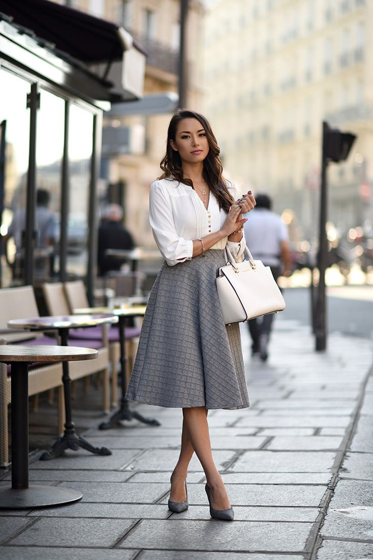 high waist gray midi skirt with white blouse