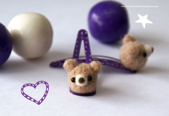 osos de lana café claro clips para cabello