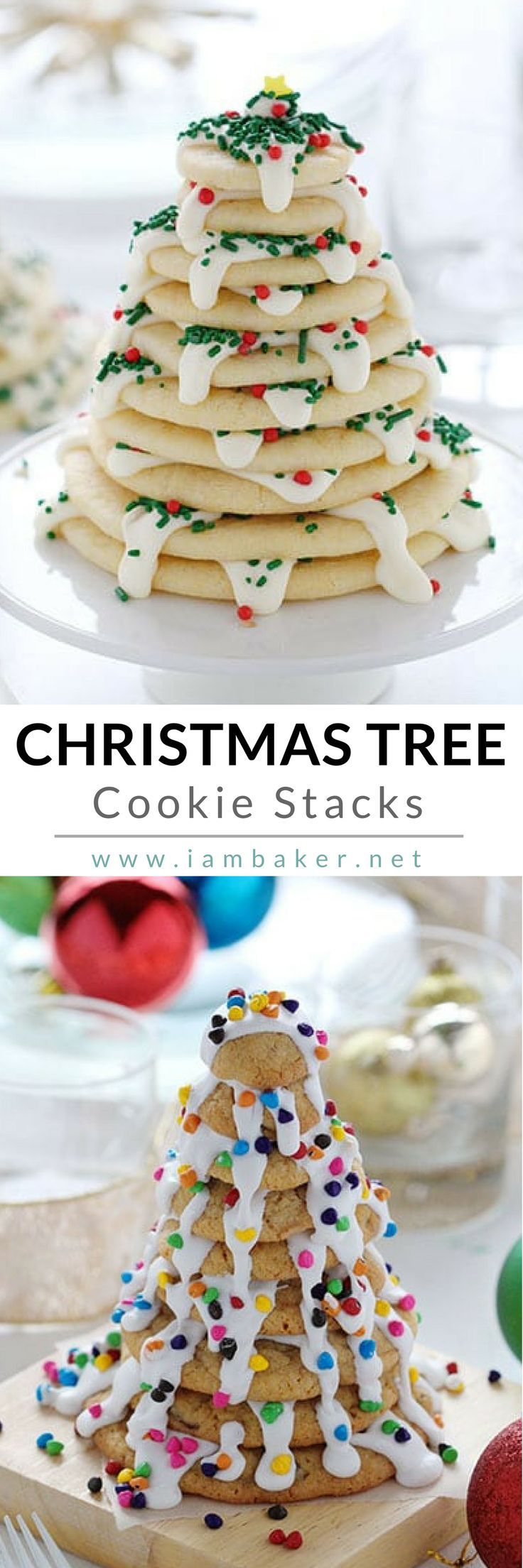 Another creative Christmas dessert ideas from @iambaker! This Christmas Tree Cookie Stacks is deliciously made of chocolate chip cookie mix and rich and creamy vanilla frosting.  Totally fun to share and eat and  one of the easy Christmas cookie recipes you can make! This is definitely one the best homemade sugar cookies- beautiful and simple you can give as  Christmas treats! More easy dessert recipes  #iambaker #iambakerdessert #iambakercookie #christmascookies