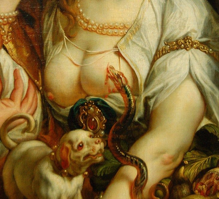 "aphroditeinfurs: ""Detail from Death of Cleopatra by Jacob Jordaens, 1653 """