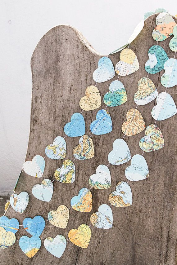 Paper garland bunting wedding garland decor heart by PaperNotebook