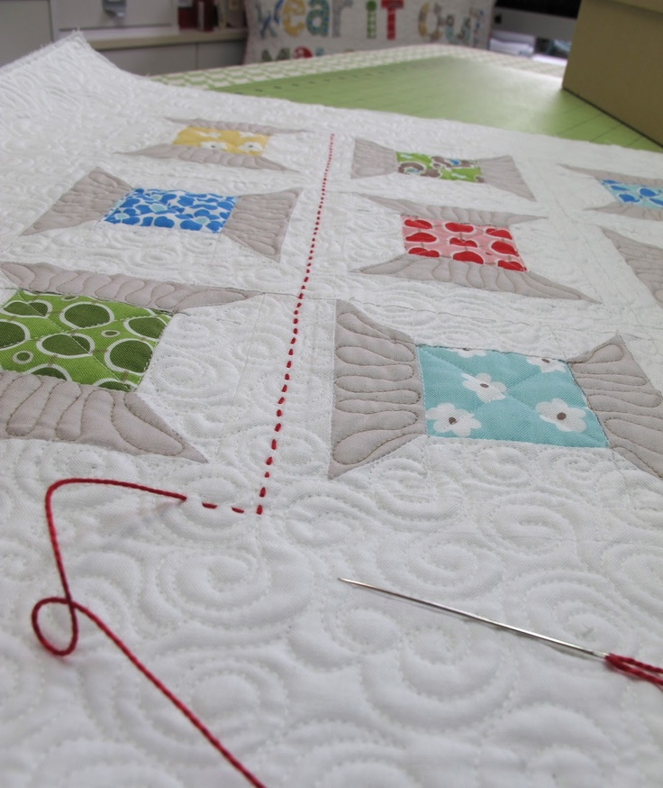nice touch - red perle cotton detail AFTER the quilting: Quilts Inspiration, Quilts Or Hands Stitches, Bonnets Quilts Ideas, Quilts Stitches, Spools Quilts, Hands Quilts, Quilts Interesting, Machine Quilts, Closet Fabrics