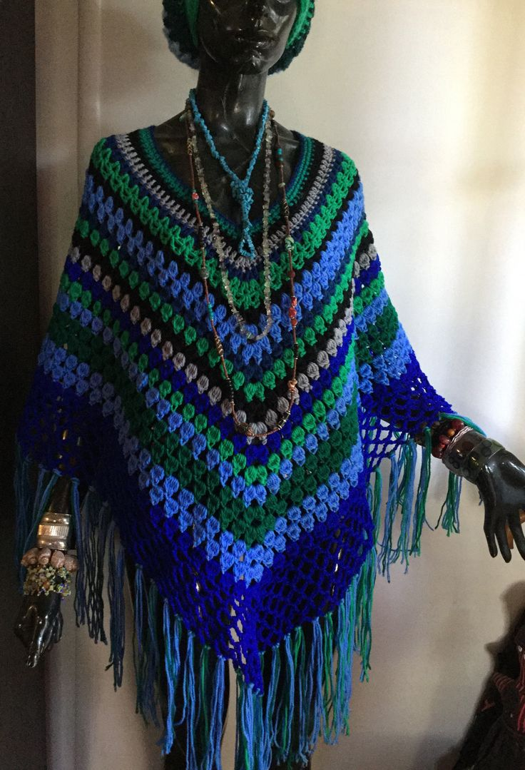 A 70's re-visited feel to this poncho in kool shades of blues and greens. $180. free shipping thru Australia