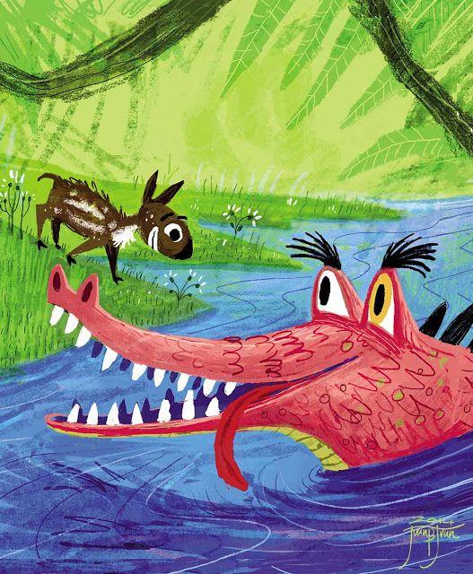 """juanbjuan children illustration: illustration cover for """"Sang Kancil and the cocodr..."""