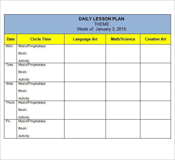 Preschool Lesson Plan Template Preschool Lesson Plan Template