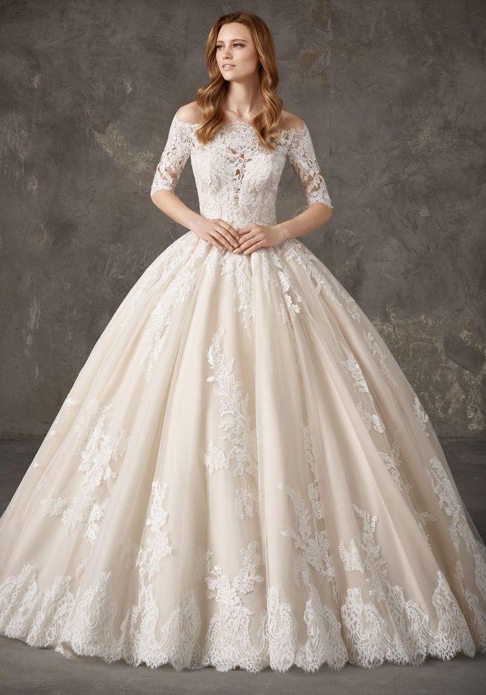 Pronovias Privee Nantes Royal Princess Lace Ball Gown Designer Bridal Room Pronovias Wedding Dress Wedding Dress Store Wedding Dress Long Sleeve