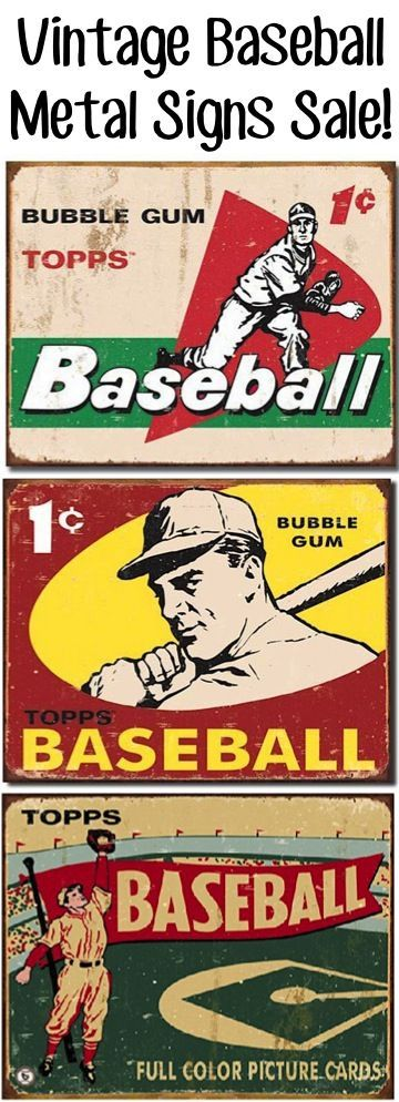 Vintage Baseball Metal Signs Sale + more fun Boys Bedroom Decorating Ideas - at TheFrugalGirls.com