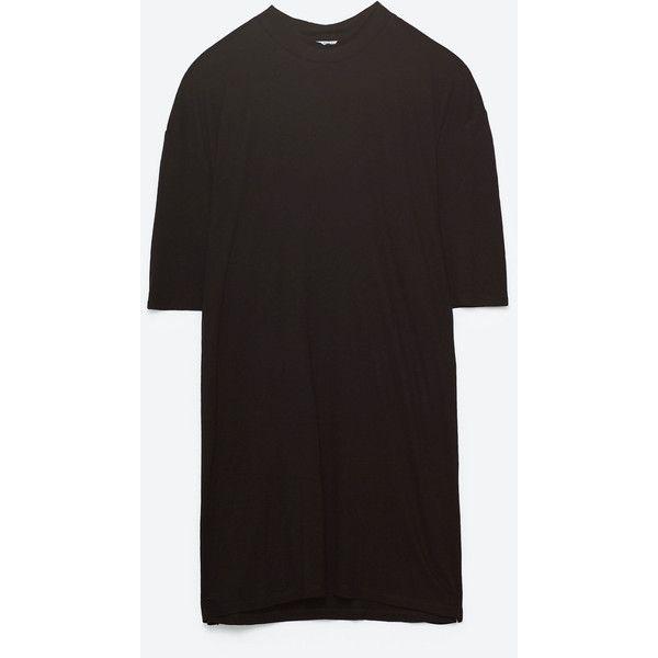 OVERSIZE T - SHIRT MED HÖG KRAGE-TRÖJOR-TRF   ZARA Sverige ($47) ❤ liked on Polyvore featuring tops, t-shirts, oversized t shirt, oversized tee, oversized tops and over sized t shirt