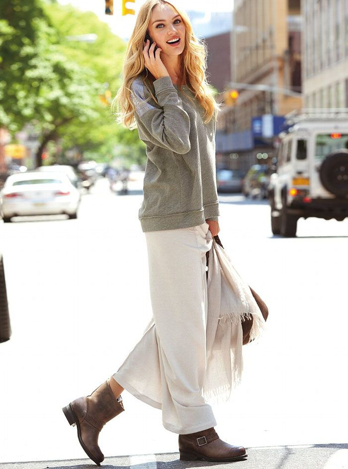 fall: maxi, sweatshirt/sweater, ankle boots + scarf