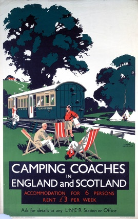 Vintage Travel Poster - UK - Camping Coaches - Railway