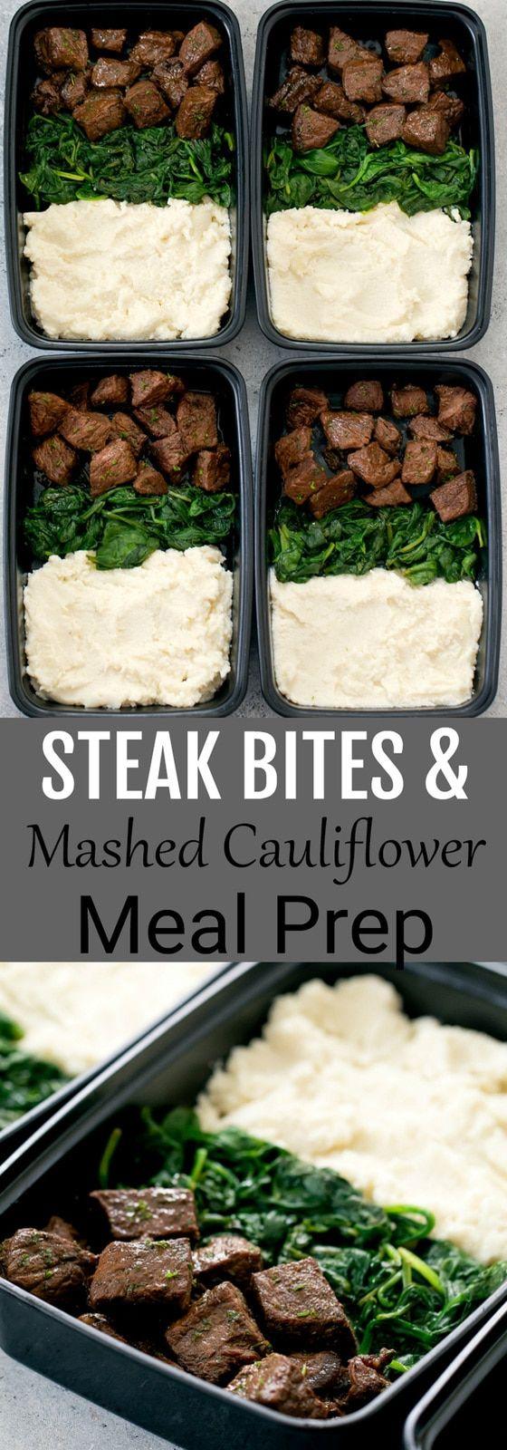 Steak Bites with Mashed Cauliflower Meal Prep