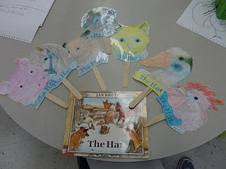 The Hat by Jan Brett - story time puppet printables from the author.