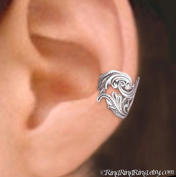 Dancing Feather Sterling Silver ear cuff by RingRingRing, $39.00
