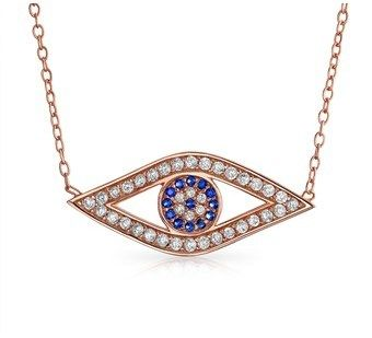 Bling Jewelry Cz Evil Eye Pendant Rose Gold Plated Necklace 16 Inches.