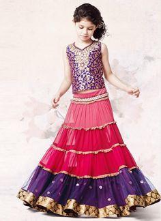 Gorgeous pink & purple lehenga http://www.bdcost.com/baby+clothing