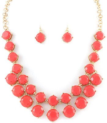 Coral Statement Necklace and Earrings
