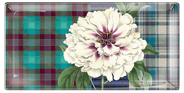 One Kings Lane - Bold Blooms - Plaid Peony Long Rectangle Tray