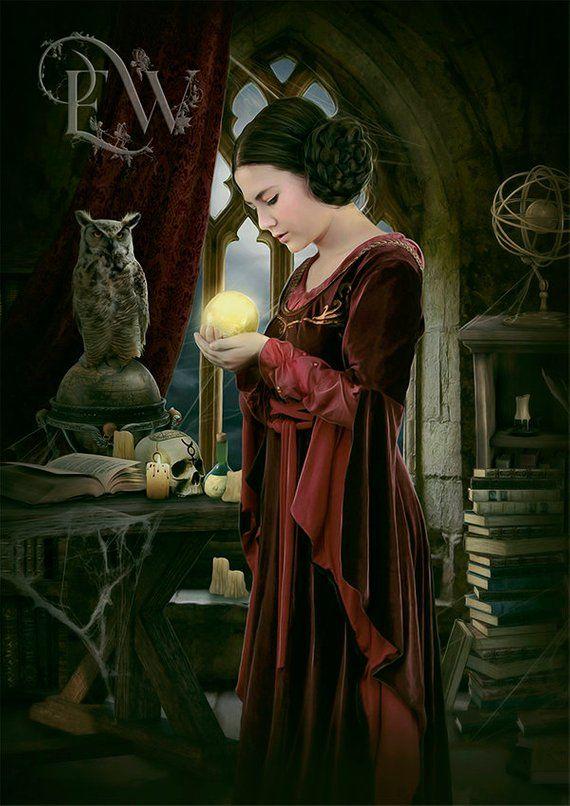 Classic Art Print John Waterhouse  A Sorceress CRYSTAL BALL Magic Witch Wiccan