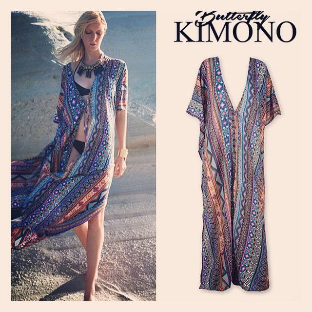 ethnic inspired print in sexy and flowing butterfly kimono style <3