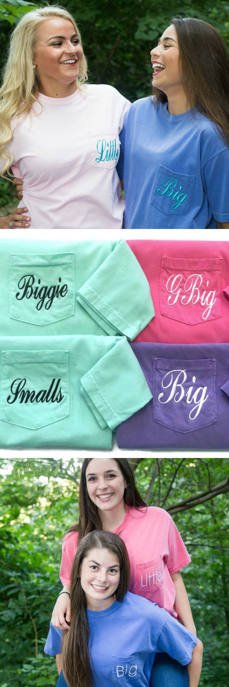 Big Little Sorority Shirts Perfect For Your Reveals, Big Sis Appreciation Nights, & Initiation Gifts. Quick Turnaround Time & Comfort Colors Shirts! Sorority Family Shirt Names + Biggie Smalls Options