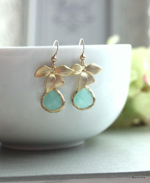 Gold Filled. A Matte Gold Orchid Flower Mint Opal Glass Framed Jewel Gold Filled Earrings. Gift For Her. Bridesmaid Gifts. Gifts For Wife.. $28.50, via Etsy.