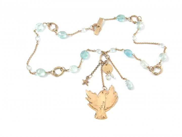 Unforgettables | Jes MaHarry Jewelry Eagle necklace: One of a kind ~ 14k. eagle charm and chain/aquamarine.