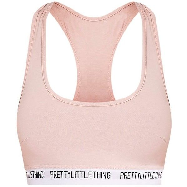 PrettyLittleThing Nude Sports Bra ($40) ❤ liked on Polyvore featuring activewear, sports bras, lingerie, bras, bralette, camisolas, sport bra, pink jersey, sports jerseys and sports bra
