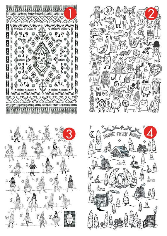 Roxy Marj Coloring Posters Set of 3 by romawinkel on Etsy