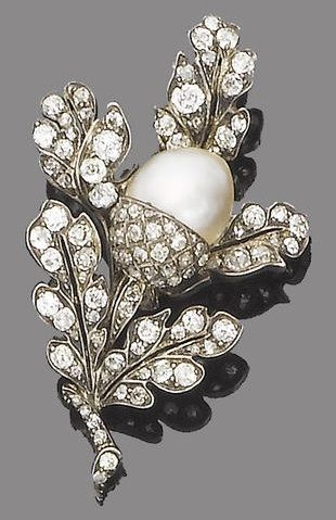 A 19th century pearl and diamond brooch, circa 1870. The realistically modelled spray of old brilliant, single and rose-cut diamond oak leaves around a central pearl acorn, old brilliant and single-cut diamonds.: