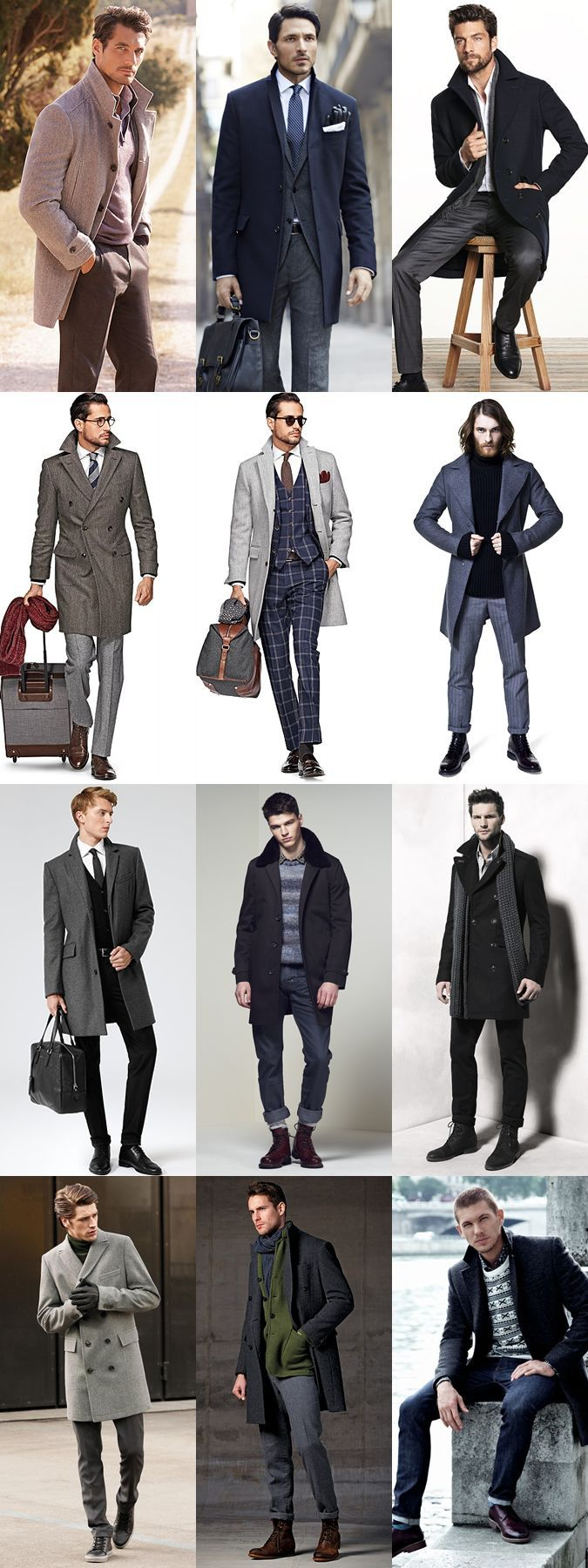 How to Wear an Overcoat Sampler. Men's Fall Winter Fashion Inspiration.