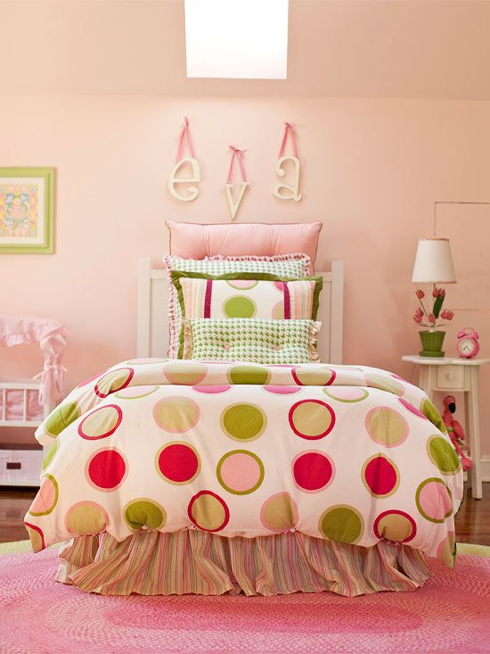 This pretty pink and green color scheme will last from toddler to teen! More kid's bedroom ideas for girls: http://www.bhg.com/rooms/kids-rooms/girls/girls-bedroom-ideas/?socsrc=bhgpin071013polkadots