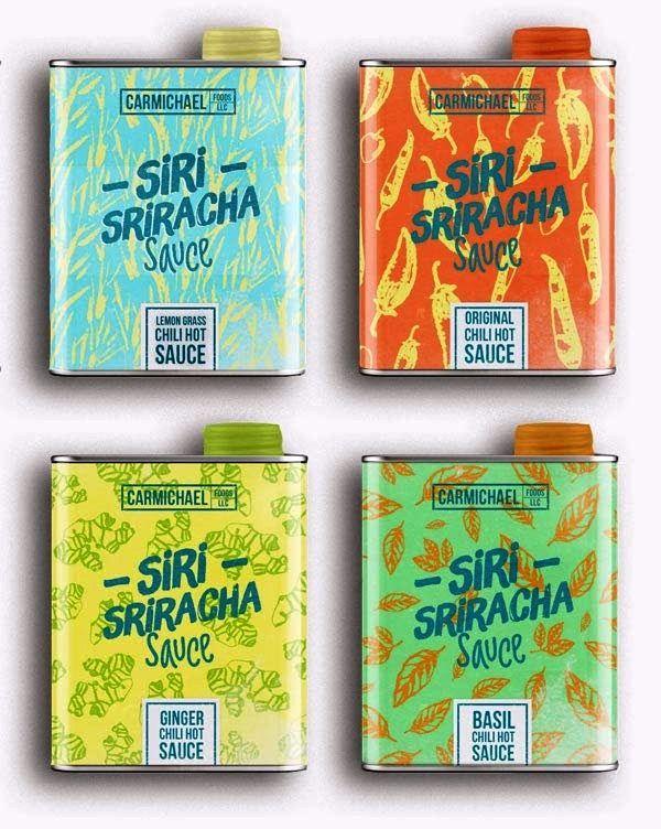Desain Kemasan Makanan Saus Sambal - Siri Sriracha Hot Sauce oleh André Moreira