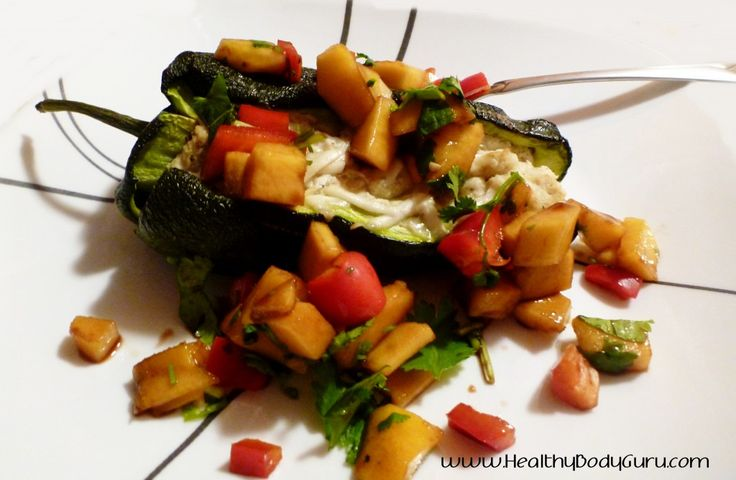 Crab stuffed poblano chiles with mango salsa. Super easy to make, and is absolutely delicious!