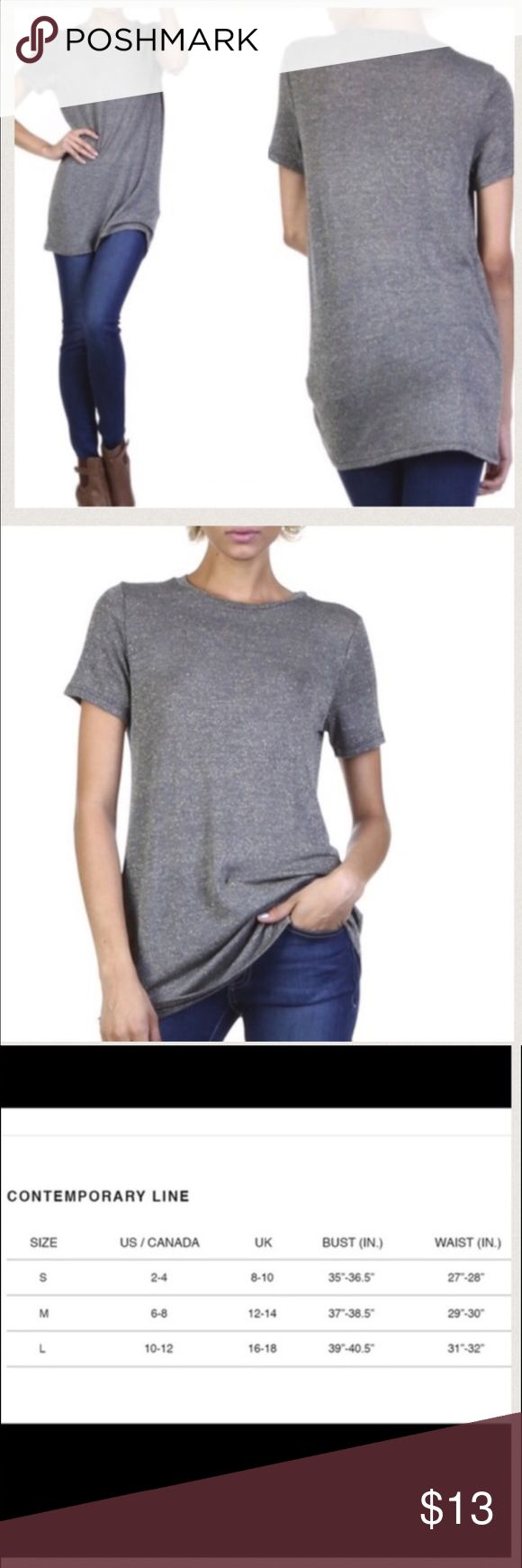 Long Metallic Tee Lightweight woven top, grey with gold glitter accents and longer silhouette.  🚫Trades ✅Price firm,Bundle to save on shipping April Spirit Tops Tunics
