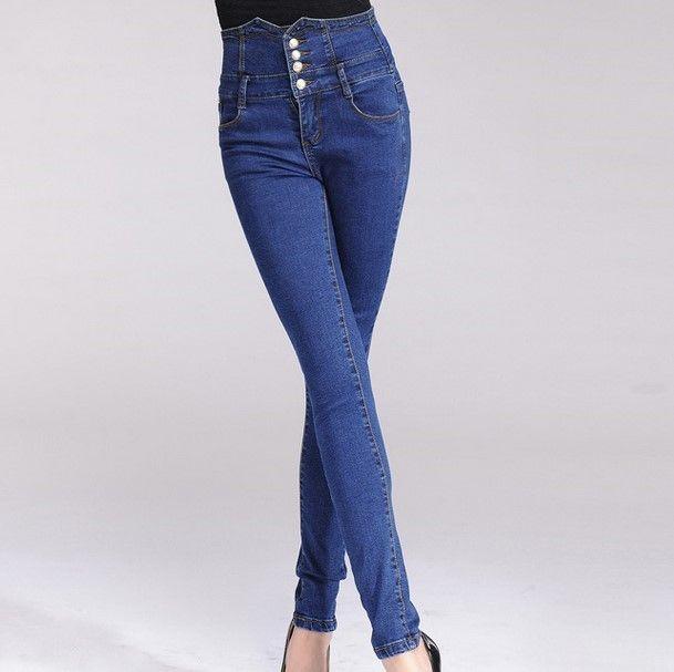 Pantalon Taille Haute Femme mujeres delgadas vaqueros flacos azules empuja hacia arriba el botón volar en línea para mujer de cintura alta Stretch Jeans pantalones para mujeres