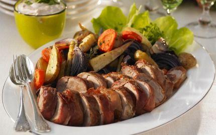 Fläskfilé med ugnsrostade grönsaker