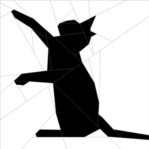"Silhouette Cat #2 10""(25cm) paper pieced pattern quiltartdesigns.blogspot.com"