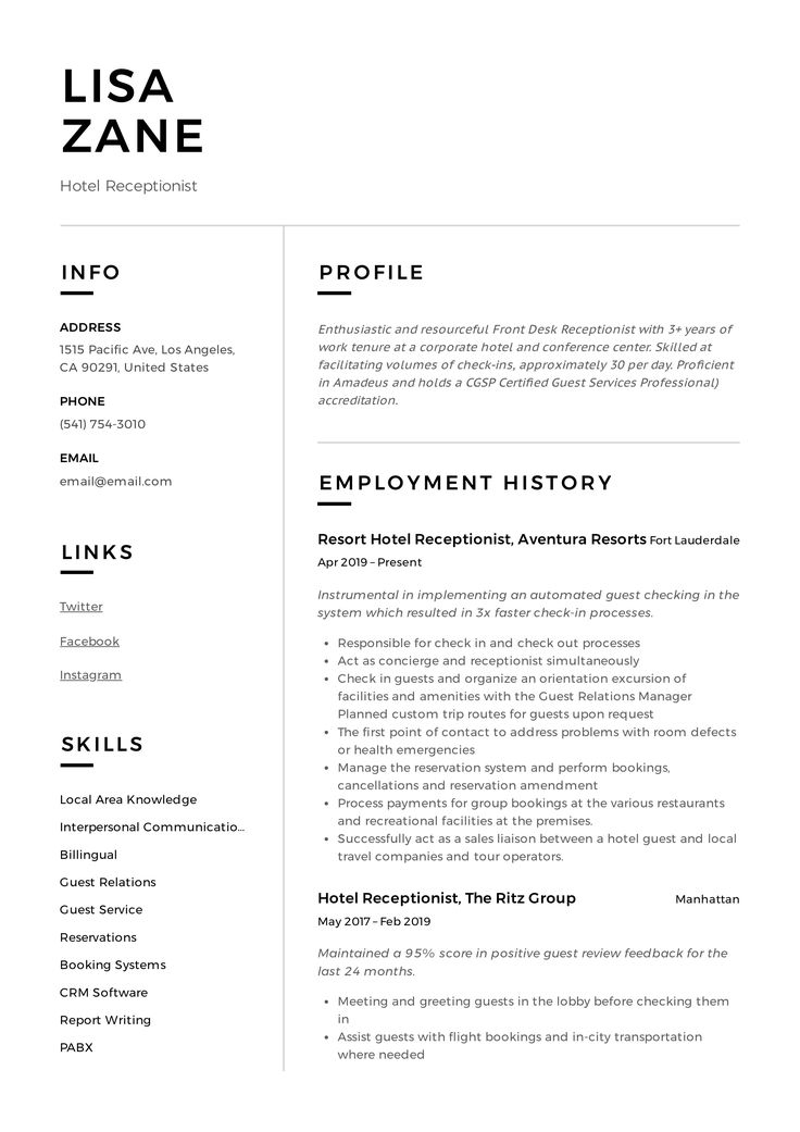 Hotel Receptionist Resume Sample in 2020 Executive